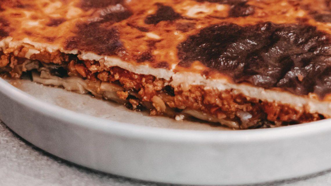 Rezept für vegetarisches Boureki, einem griechischen Auflauf